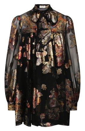Женское шелковое платье SAINT LAURENT черного цвета, арт. 622788/Y7A11 | Фото 1
