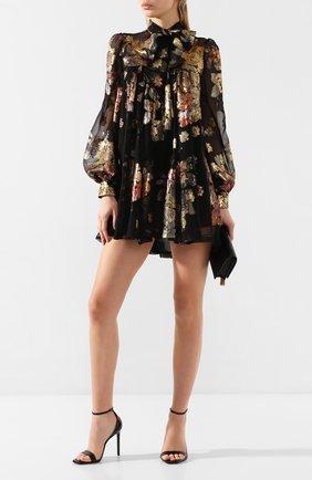 Женское шелковое платье SAINT LAURENT черного цвета, арт. 622788/Y7A11 | Фото 2