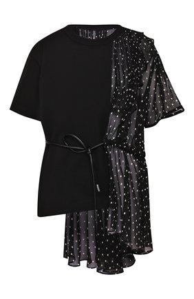 Женская футболка SACAI черного цвета, арт. 20-05070 | Фото 1