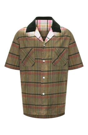 Женская хлопковая рубашка SACAI хаки цвета, арт. 20-02279M | Фото 1