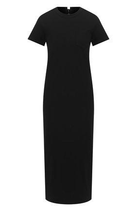 Женское хлопковое платье SACAI черного цвета, арт. 20-04880 | Фото 1