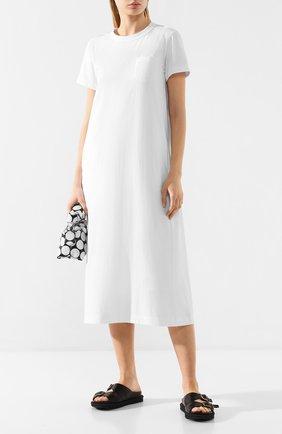 Женское хлопковое платье SACAI белого цвета, арт. 20-04880 | Фото 2