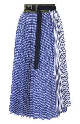 Женская хлопковая юбка SACAI голубого цвета, арт. 20-04887 | Фото 1