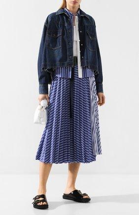 Женская хлопковая юбка SACAI голубого цвета, арт. 20-04887 | Фото 2