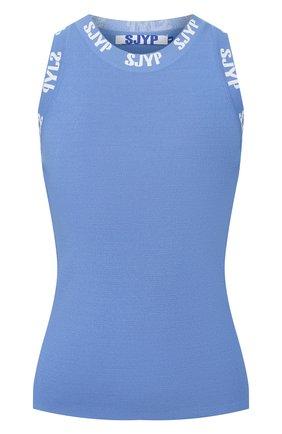 Женская майка из вискозы STEVE J & YONI P синего цвета, арт. PW2A3K-P0019W   Фото 1