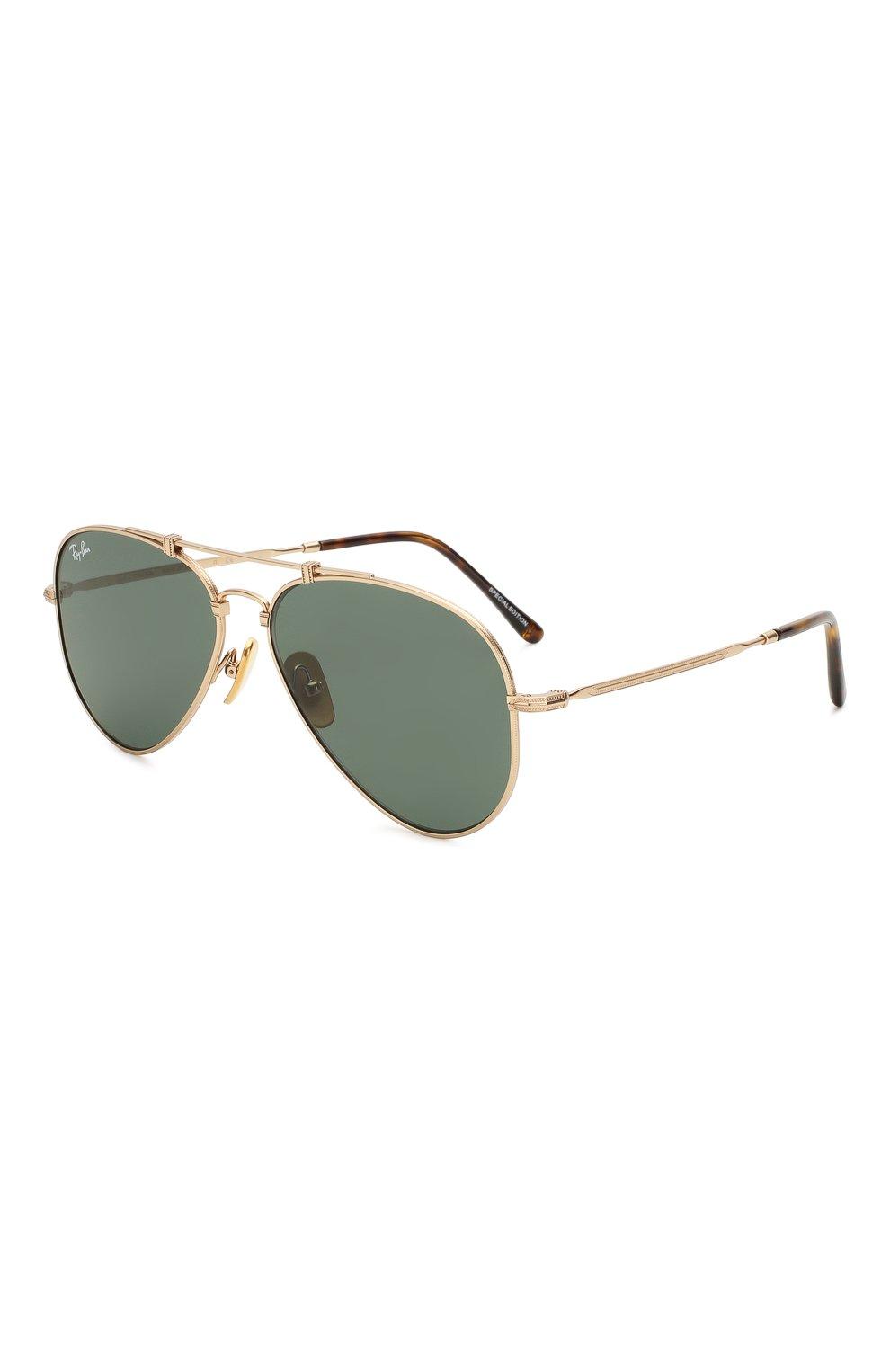 Женские солнцезащитные очки RAY-BAN золотого цвета, арт. 8125-913658 | Фото 1