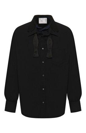 Мужская хлопковая рубашка SACAI черного цвета, арт. 20-02241M   Фото 1