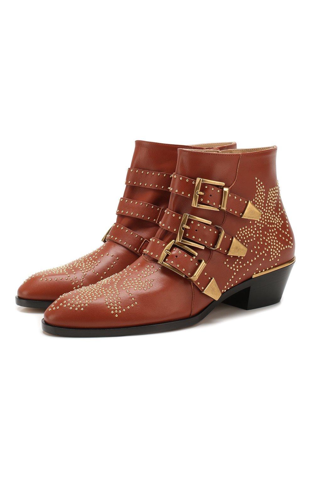 Женские кожаные ботинки susanna CHLOÉ светло-коричневого цвета, арт. CHC16A13475   Фото 1 (Женское Кросс-КТ: Казаки-ботинки; Каблук высота: Низкий; Материал внутренний: Натуральная кожа; Подошва: Плоская)