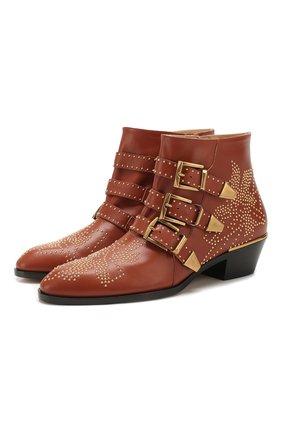 Женские кожаные ботинки susanna CHLOÉ светло-коричневого цвета, арт. CHC16A13475 | Фото 1