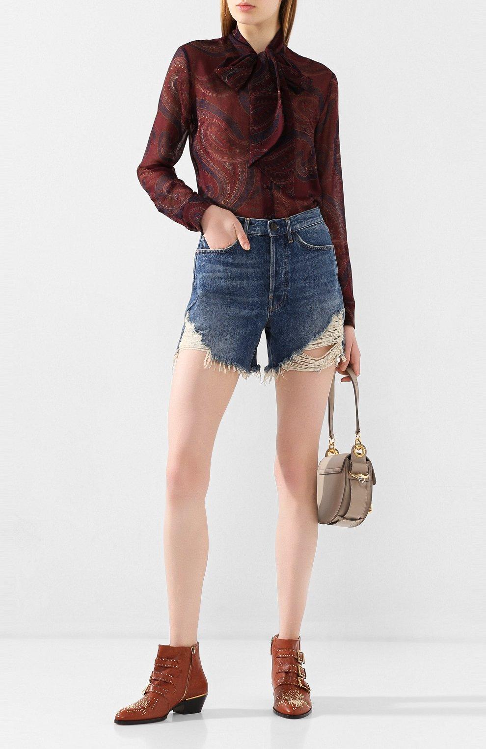 Женские кожаные ботинки susanna CHLOÉ светло-коричневого цвета, арт. CHC16A13475   Фото 2 (Женское Кросс-КТ: Казаки-ботинки; Каблук высота: Низкий; Материал внутренний: Натуральная кожа; Подошва: Плоская)