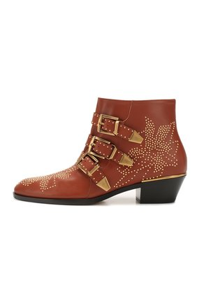 Женские кожаные ботинки susanna CHLOÉ светло-коричневого цвета, арт. CHC16A13475   Фото 3 (Женское Кросс-КТ: Казаки-ботинки; Каблук высота: Низкий; Материал внутренний: Натуральная кожа; Подошва: Плоская)