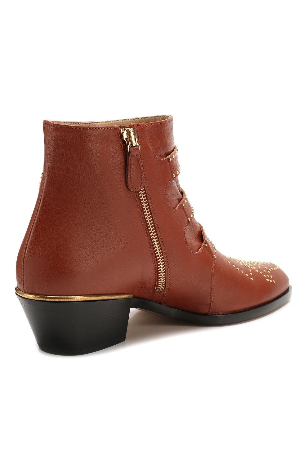 Женские кожаные ботинки susanna CHLOÉ светло-коричневого цвета, арт. CHC16A13475   Фото 4 (Женское Кросс-КТ: Казаки-ботинки; Каблук высота: Низкий; Материал внутренний: Натуральная кожа; Подошва: Плоская)