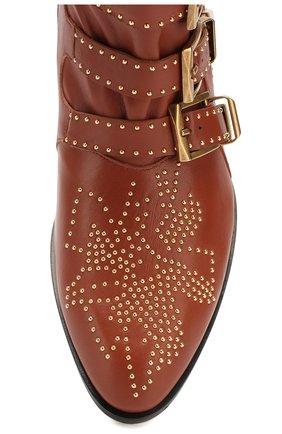 Женские кожаные ботинки susanna CHLOÉ светло-коричневого цвета, арт. CHC16A13475   Фото 5 (Женское Кросс-КТ: Казаки-ботинки; Каблук высота: Низкий; Материал внутренний: Натуральная кожа; Подошва: Плоская)