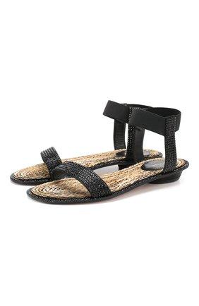 Женские кожаные сандалии LE SILLA черного цвета, арт. 1450Q020R4PPBUR   Фото 1