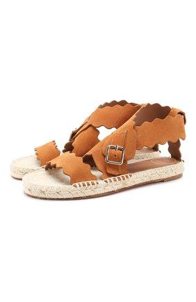 Женские замшевые сандалии lauren CHLOÉ светло-коричневого цвета, арт. CHC19U19118 | Фото 1