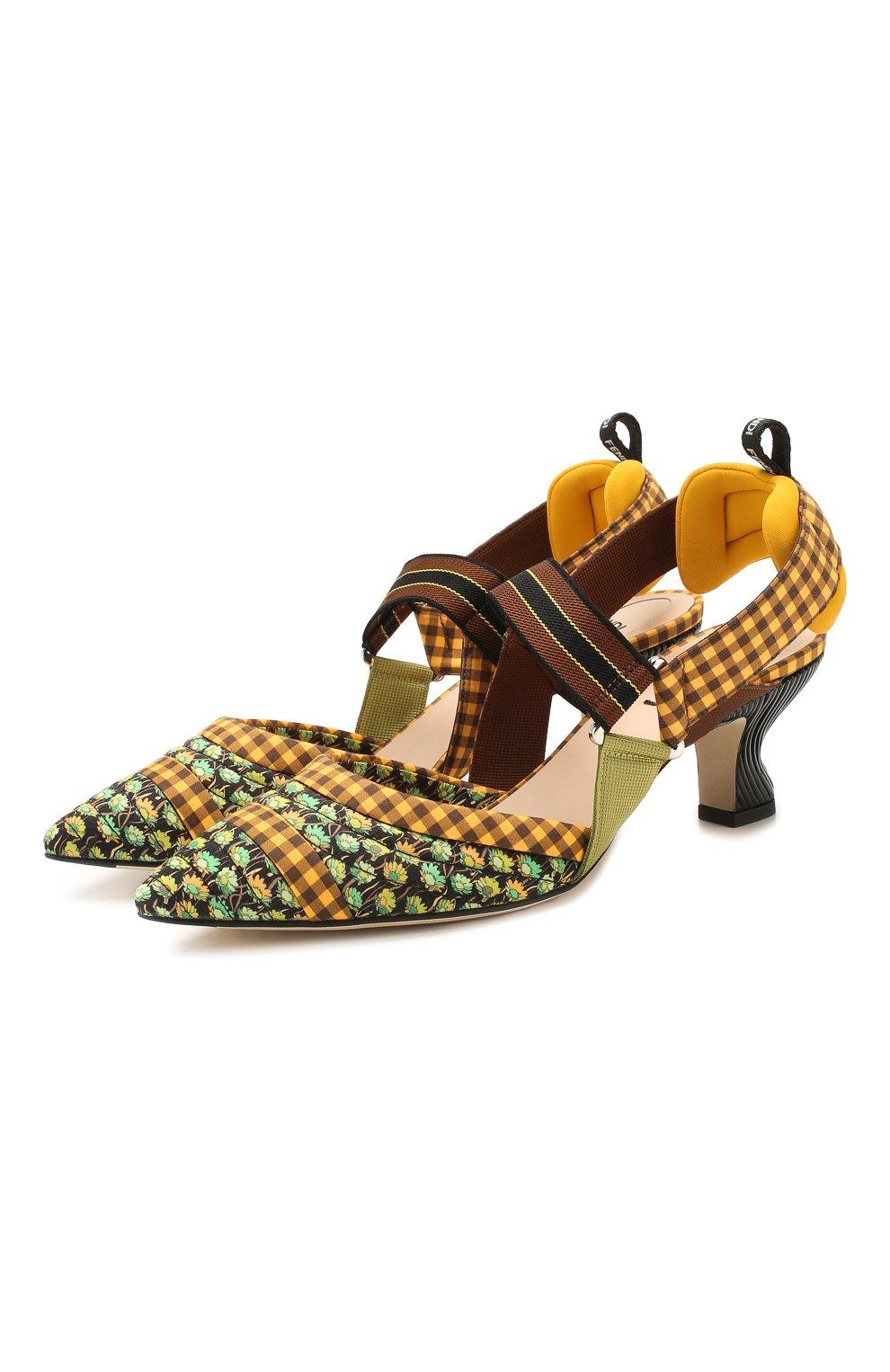 Женские текстильные туфли FENDI желтого цвета, арт. 8J7075 AAXC   Фото 1