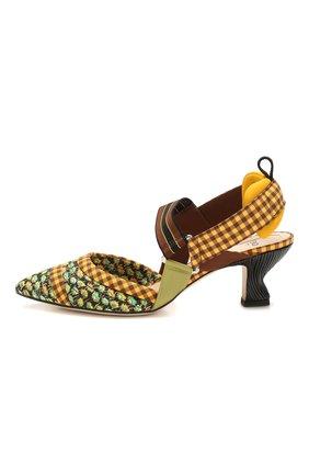 Женские текстильные туфли FENDI желтого цвета, арт. 8J7075 AAXC   Фото 3