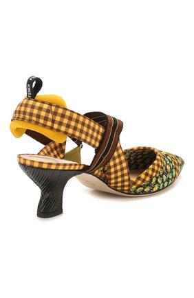 Женские текстильные туфли FENDI желтого цвета, арт. 8J7075 AAXC   Фото 4