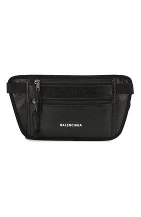 Мужская кожаная поясная сумка BALENCIAGA черного цвета, арт. 618190/DB5J5 | Фото 1