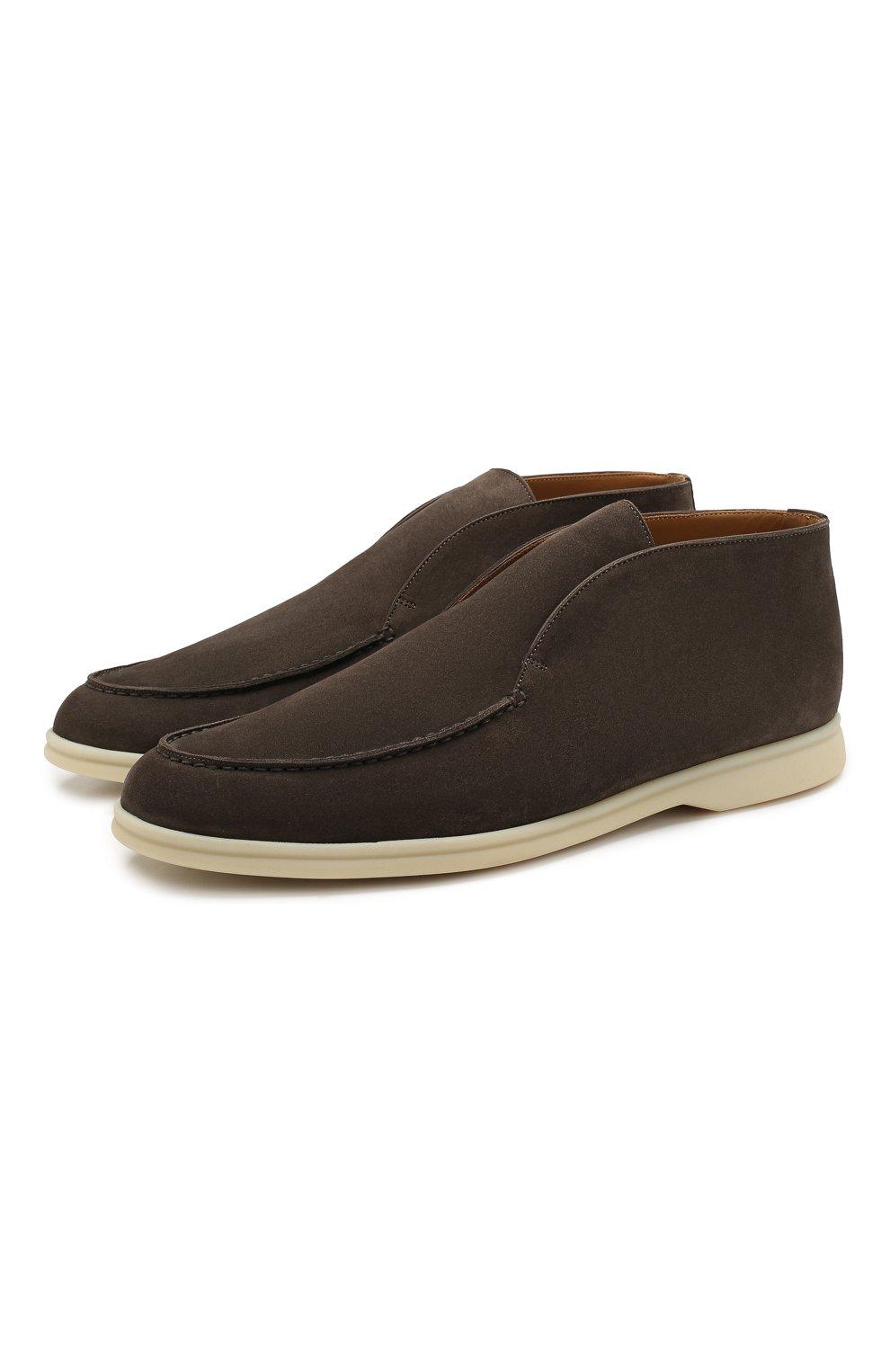 Мужские замшевые ботинки open walk LORO PIANA коричневого цвета, арт. FAB4368   Фото 1 (Мужское Кросс-КТ: Ботинки-обувь; Материал внутренний: Натуральная кожа; Подошва: Плоская; Материал внешний: Замша)
