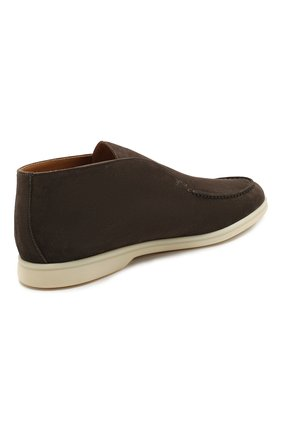 Мужские замшевые ботинки open walk LORO PIANA коричневого цвета, арт. FAB4368   Фото 4 (Мужское Кросс-КТ: Ботинки-обувь; Материал внутренний: Натуральная кожа; Подошва: Плоская; Материал внешний: Замша)