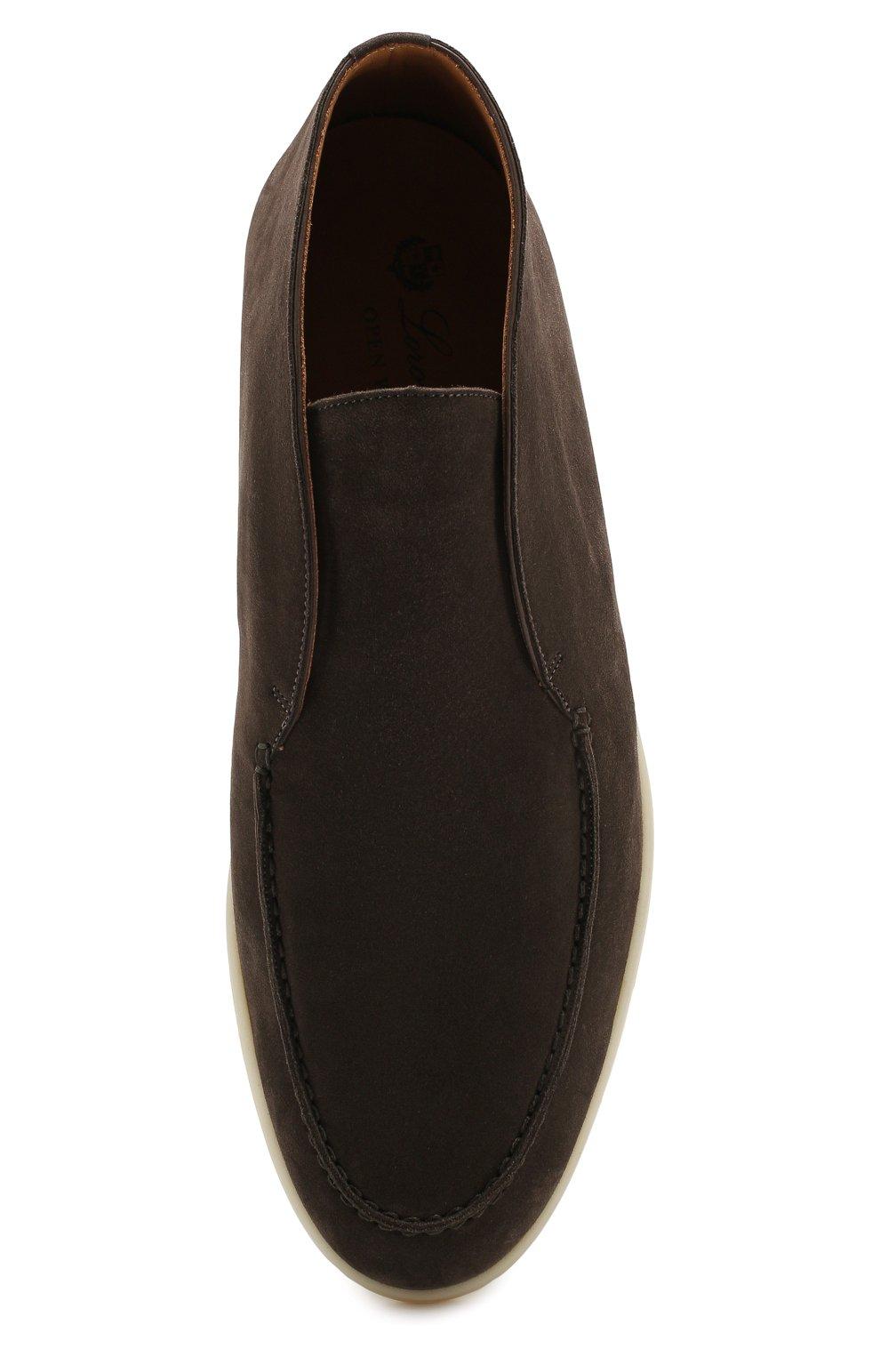 Мужские замшевые ботинки open walk LORO PIANA коричневого цвета, арт. FAB4368   Фото 5 (Мужское Кросс-КТ: Ботинки-обувь; Материал внутренний: Натуральная кожа; Подошва: Плоская; Материал внешний: Замша)