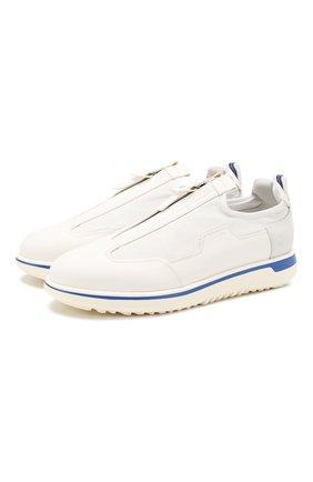 Мужские кожаные кроссовки GIORGIO ARMANI белого цвета, арт. X2C658/XM447 | Фото 1