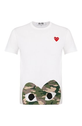 Мужская хлопковая футболка COMME DES GARCONS PLAY белого цвета, арт. AZ-T244 | Фото 1