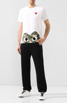 Мужская хлопковая футболка COMME DES GARCONS PLAY белого цвета, арт. AZ-T244 | Фото 2