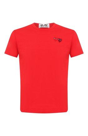 Мужская хлопковая футболка COMME DES GARCONS PLAY красного цвета, арт. AZ-T226 | Фото 1