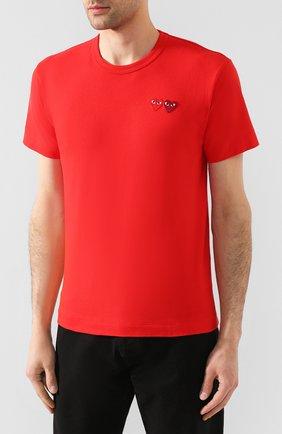 Мужская хлопковая футболка COMME DES GARCONS PLAY красного цвета, арт. AZ-T226 | Фото 3