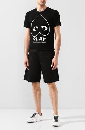 Мужская хлопковая футболка COMME DES GARCONS PLAY черного цвета, арт. AZ-T114 | Фото 2