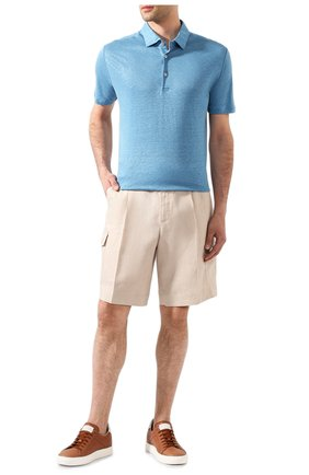 Мужское льняное поло LORO PIANA голубого цвета, арт. FAI1314 | Фото 2