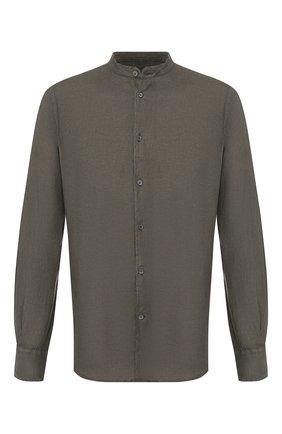 Мужская льняная рубашка CORNELIANI хаки цвета, арт. 85PS59-0120283/00 | Фото 1