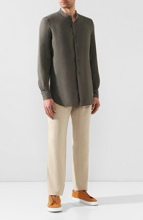 Мужская льняная рубашка CORNELIANI хаки цвета, арт. 85PS59-0120283/00 | Фото 2