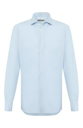 Мужская льняная рубашка CORNELIANI голубого цвета, арт. 85PS06-0120283/00 | Фото 1