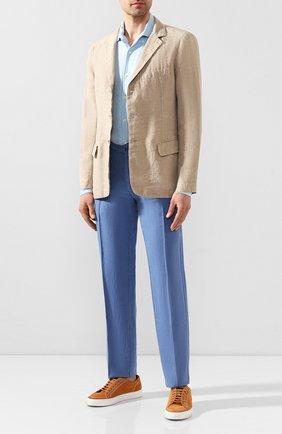 Мужская льняная рубашка CORNELIANI голубого цвета, арт. 85PS06-0120283/00 | Фото 2