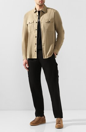 Мужская хлопковая рубашка STONE ISLAND бежевого цвета, арт. 721512015 | Фото 2
