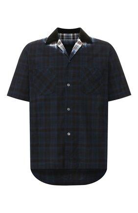 Мужская хлопковая рубашка SACAI темно-синего цвета, арт. 20-02279M   Фото 1