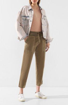 Женские хлопковые брюки JAMES PERSE хаки цвета, арт. WACS1862 | Фото 2