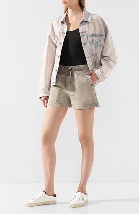 Женские хлопковые шорты JAMES PERSE хаки цвета, арт. WACS4271 | Фото 2