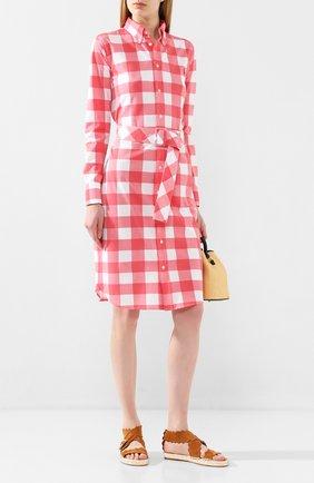 Женское хлопковое платье POLO RALPH LAUREN красного цвета, арт. 211792204 | Фото 2