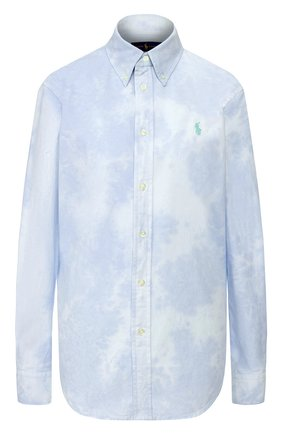 Женская хлопковая рубашка POLO RALPH LAUREN голубого цвета, арт. 211792488 | Фото 1
