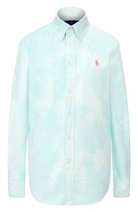 Женская хлопковая рубашка POLO RALPH LAUREN светло-зеленого цвета, арт. 211792488 | Фото 1