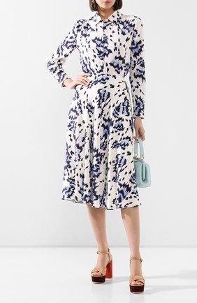 Женская шелковая юбка ST. JOHN голубого цвета, арт. K71ZW12 | Фото 2