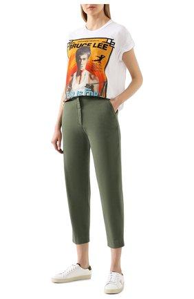 Женские хлопковые брюки TWO WOMEN IN THE WORLD хаки цвета, арт. LAUREN/YEAT3 | Фото 2