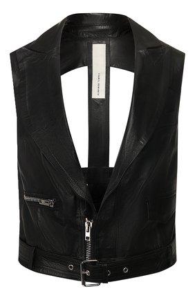 Женский кожаный жилет ISABEL BENENATO черного цвета, арт. DL02S20 | Фото 1