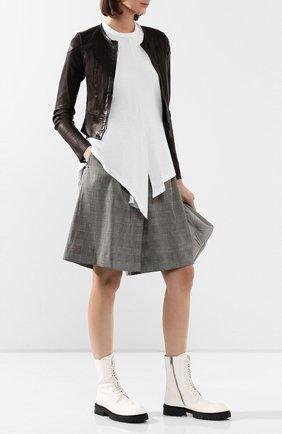 Женская кожаная куртка ISABEL BENENATO черного цвета, арт. DL12S20 | Фото 2
