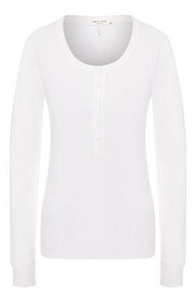 Женская хлопковый лонгслив RAG&BONE белого цвета, арт. WCC20ST057JR57   Фото 1