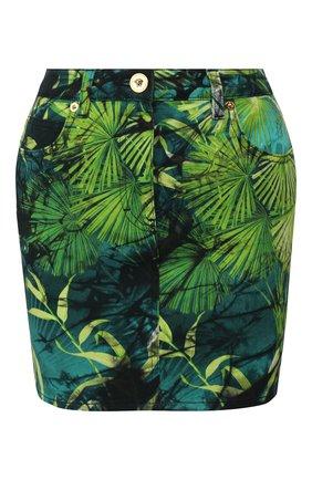 Женская джинсовая юбка VERSACE зеленого цвета, арт. A86580/A234709 | Фото 1